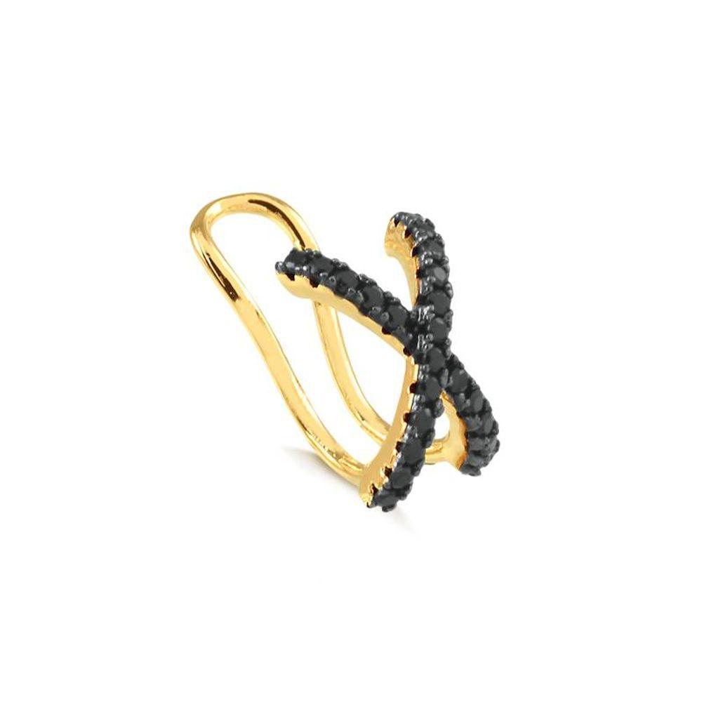 Piercing-Falso-de-Orelha-com-Zirconias-Negras-Banhado-a-Ouro-18k