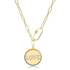 Colar-de-elos-com-medalha--love-cravejado-de-zirconias-coloridas