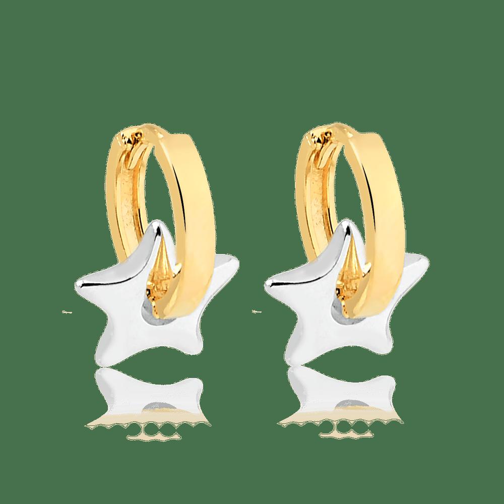 -Brinco-de-Argola-Dourada-com-Pingente-de-Estrela-Banhado-a-Rodio