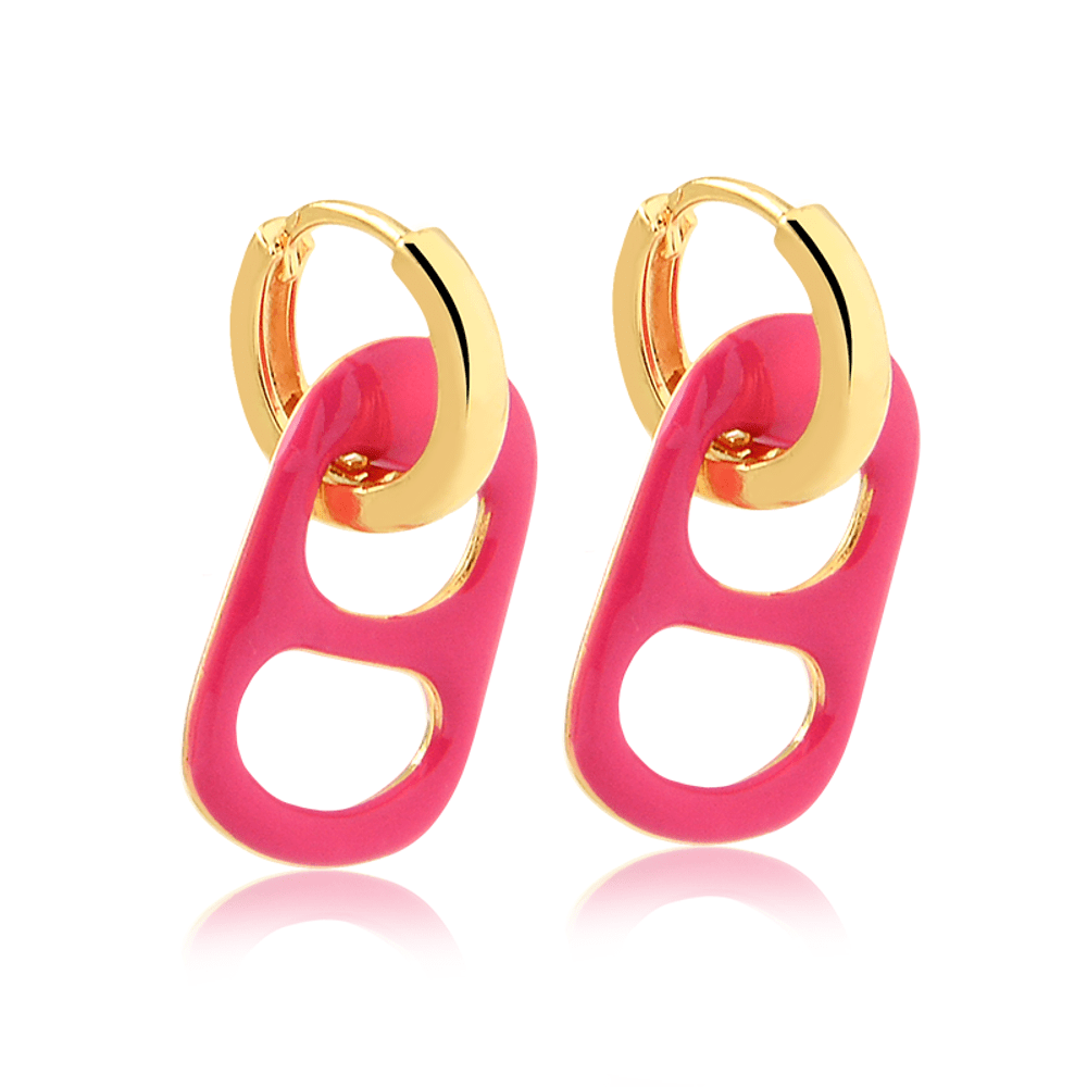 Brinco-de-argola-com-pingente-de-lacre-esmaltado-colorido-banhado-a-ouro-18k-Rosa-pink