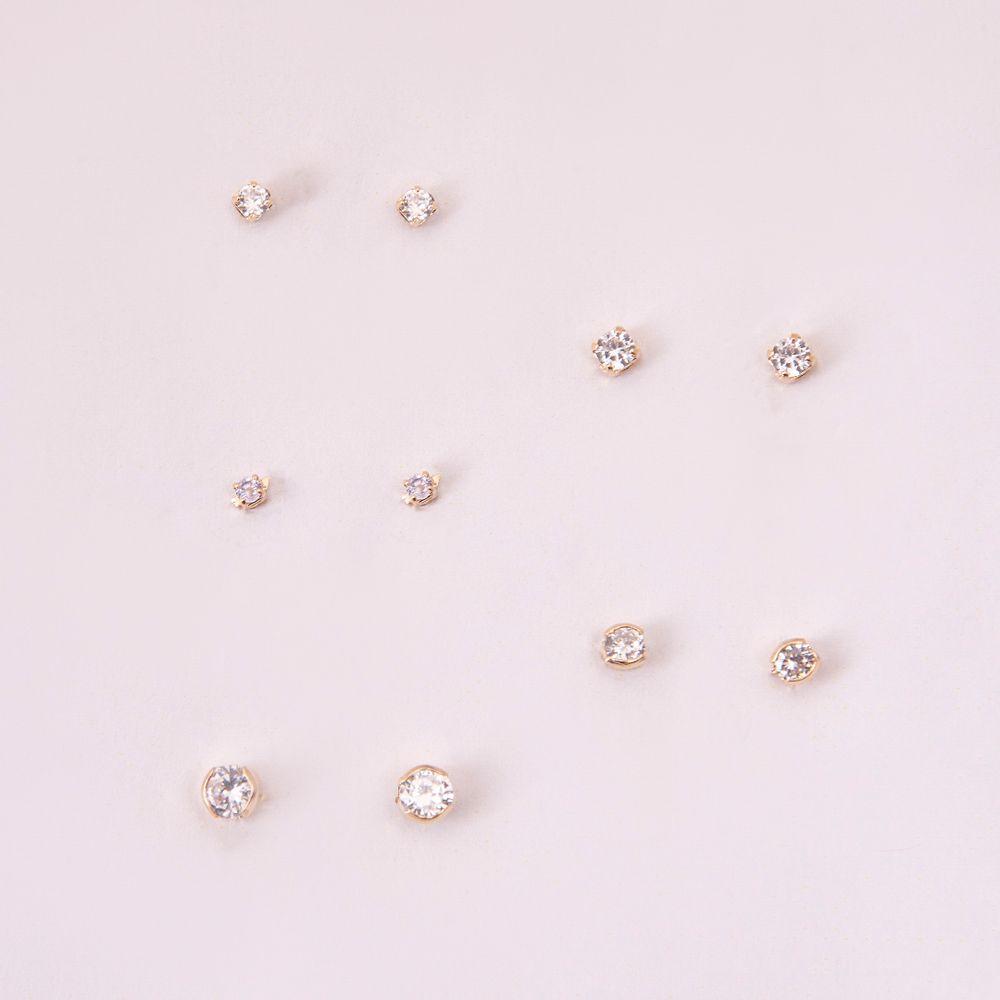 Kit-com-5-brincos-pequenos-ponto-de-luz-banhado-a-ouro-18k