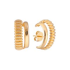 Brinco-ear-hook-duplo-dourado-com-textura-Textura