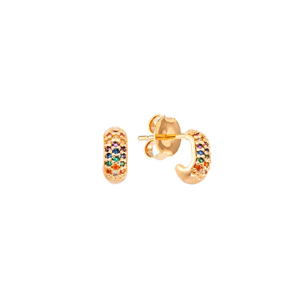 Brinco-de-argola-2º-furo-dourada-oval-com-zirconias-coloridas