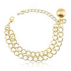 Pulseira-elos-duplo-com-pingente-de-bola-etrusca-e-ponto-de-luz-banhado-a-ouro-18k